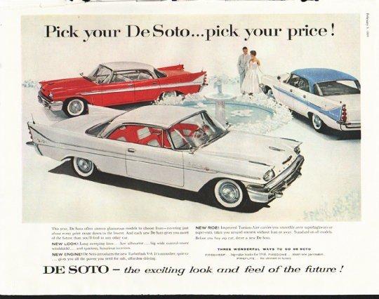 "1958 De Soto Ad ""Pick your De Soto"" ~ (model year 1958)"