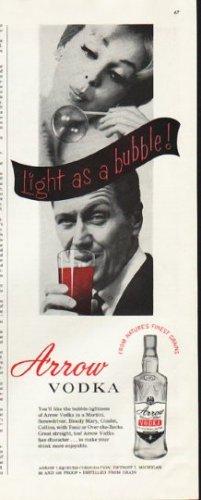 "1961 Arrow Vodka Ad ""Light as a bubble"""