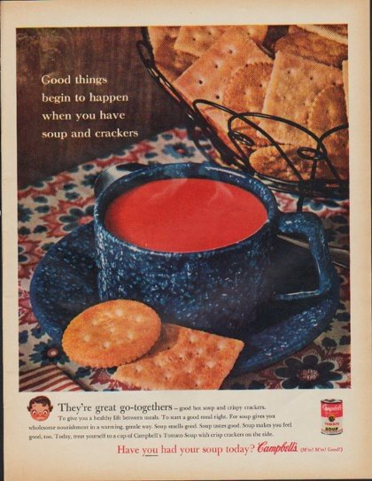"""1961 Campbell's Soup Ad """"soup and crackers"""""""