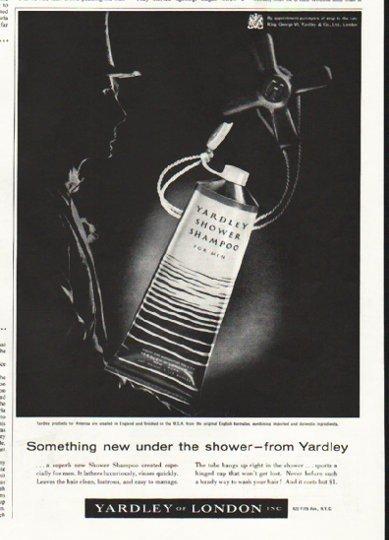 """1956 Yardley Ad """"Shower Shampoo"""""""