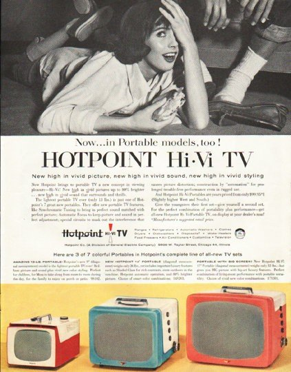 """1956 Hotpoint TV Ad """"Portable models"""""""