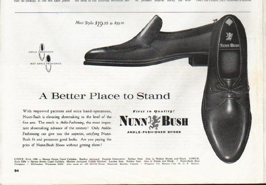 """1965 Nunn-Bush Shoes Ad """"Better Place to Stand"""""""