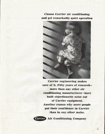 "1965 Carrier Air Conditioner Ad ""quiet operation"""