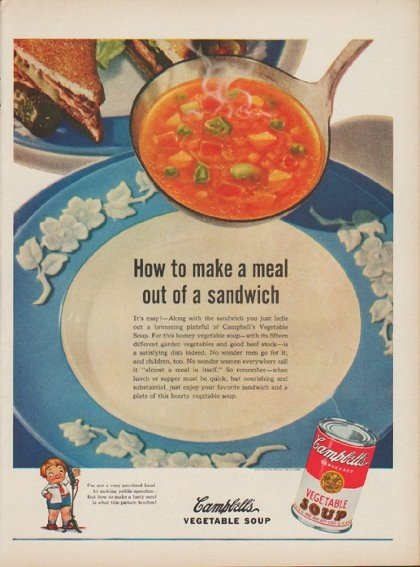 """1949 Campbell's Soup Ad """"How to make a meal"""""""
