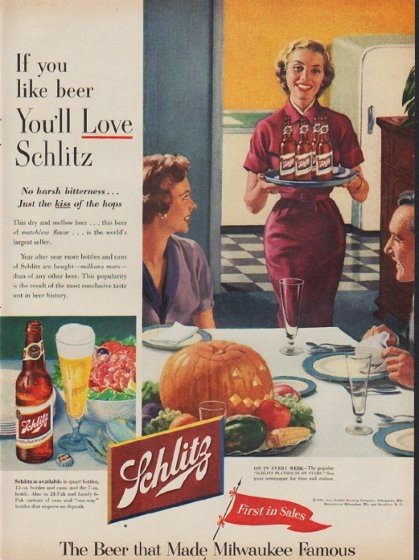 """1953 Schlitz Beer Ad """"If you like beer"""""""