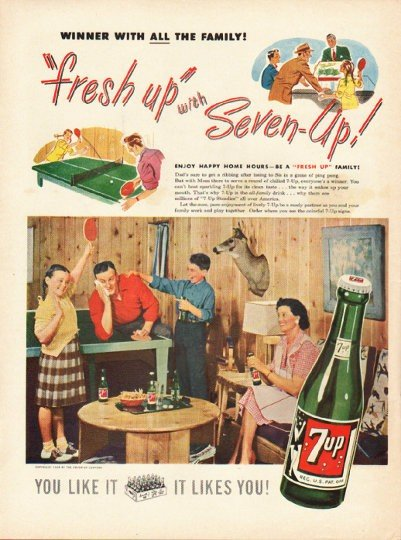 """1948 7-Up Soda Ad """"all the family"""""""