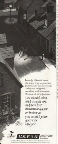 """1958 United States Fidelity & Guaranty Ad """"Colonial times"""""""