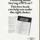 "1972 Ford Ad ""free book"" ~ (model year 1973)"