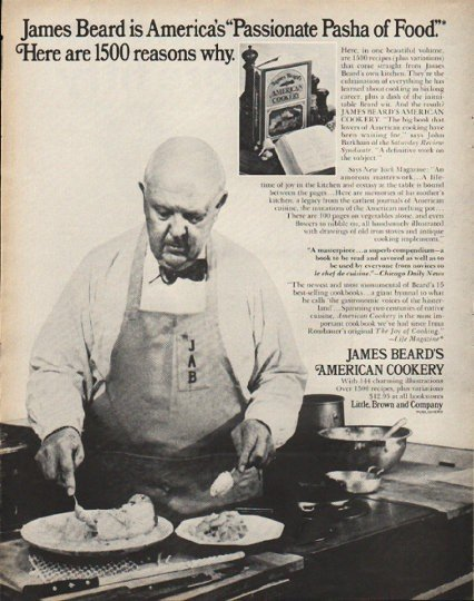 "1972 James Beard's American Cookery Ad ""Pasha of Food"""