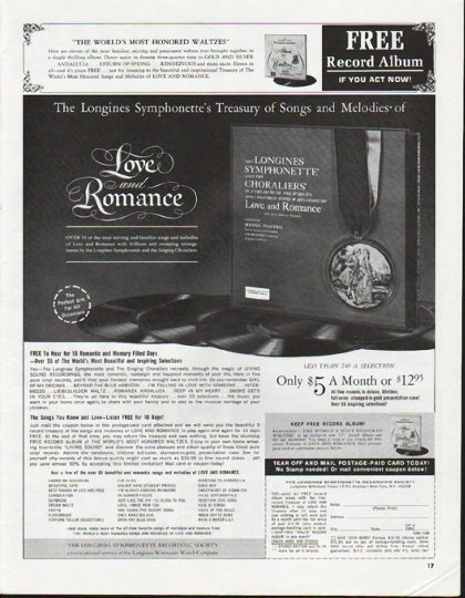 "1965 Longines Symphonette Ad ""Treasury of Songs"""
