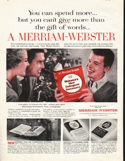 """1961 Merriam-Webster Dictionary Ad """"friend for life"""""""