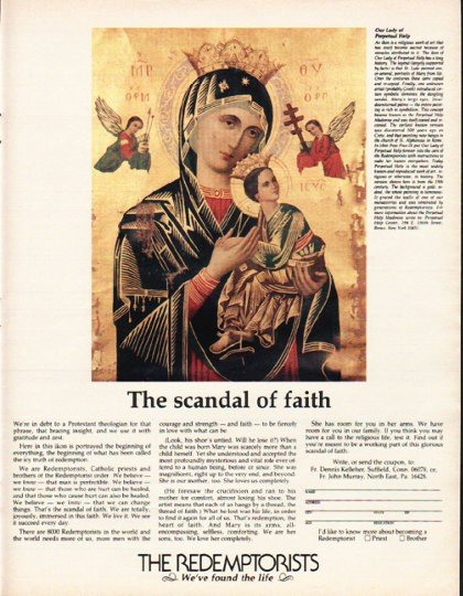 """1980 The Redemptorists Ad """"scandal of faith"""""""