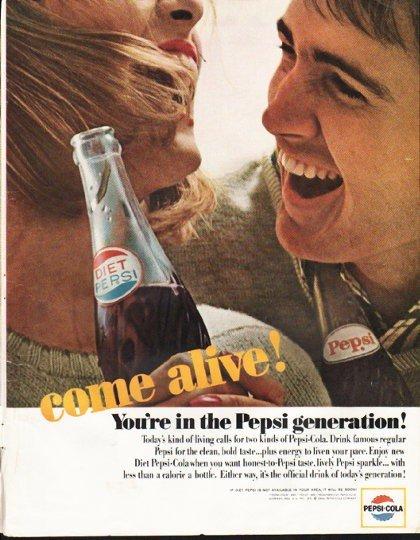 """1964 Pepsi-Cola Ad """"come alive"""""""