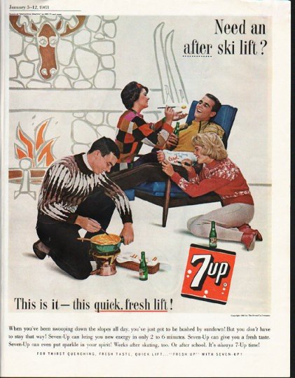 """1963 7-Up Ad """"this quick, fresh lift"""""""