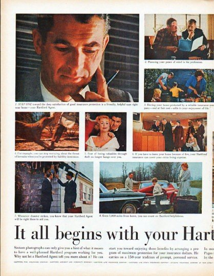 """1961 The Hartford Insurance Ad """"your Hartford Agent"""""""