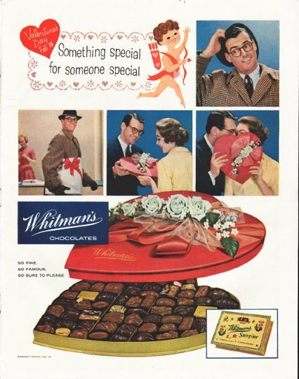 """1958 Whitman's Chocolates Ad """"Something Special"""""""