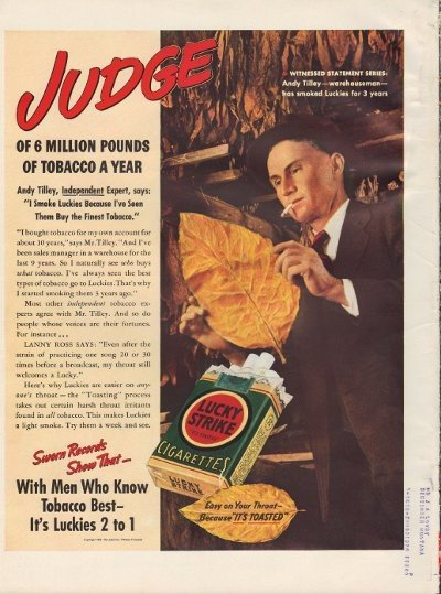 """1938 Lucky Strike Cigarettes Ad """"Andy Tilley"""""""
