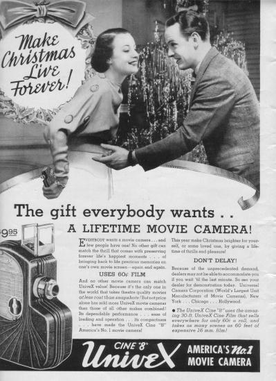 "1937 Univex Movie Camera Ad ""Make Christmas"""