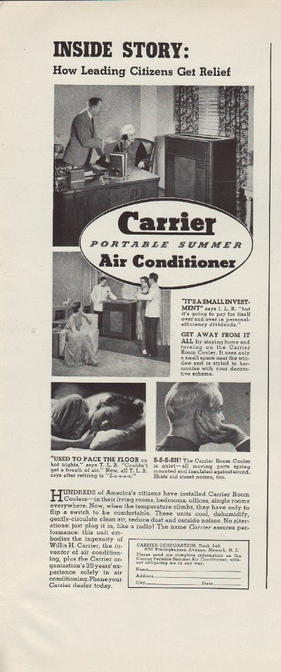 """1937 Carrier Air Conditioner Ad """"Leading Citizens"""""""