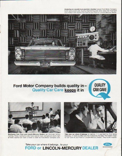 "1965 Ford Motor Company Ad ""builds quality"""