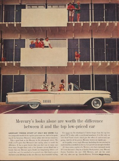 """1960 Ford Mercury Ad """"Worth The Difference"""""""