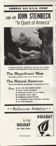 "1961 Holiday Magazine Ad ""John Steinbeck"""