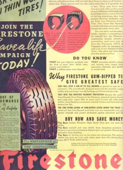 """1937 Firestone Tire Vintage Ad """"Risk Your Life...!"""""""