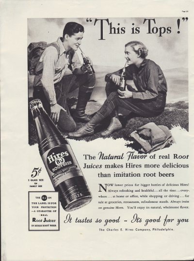 """1937 Hires Root Beer Ad """"This Is Tops!"""""""