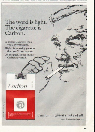 """1965 Carlton Cigarettes Ad """"The word is light"""""""