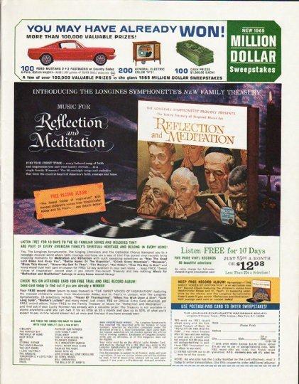 "1965 Longines Symphonette Ad ""Reflection and Meditation"""
