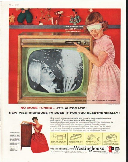 """1958 Westinghouse Television Ad """"No More Tuning"""""""