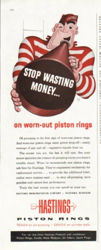 "1956 Hastings Piston Rings Ad ""Stop wasting money"""