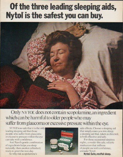 "1972 Nytol Ad ""three leading sleep aids"""
