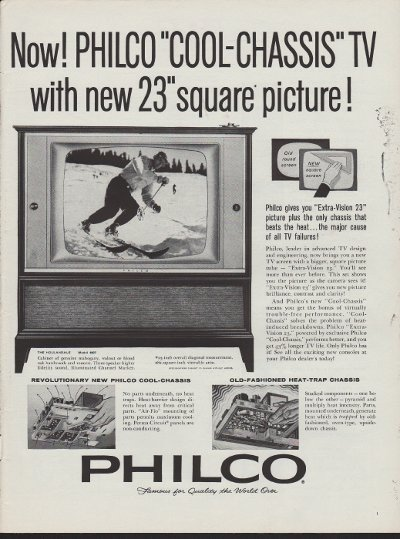 """1960 Philco Television Ad """"Cool-Chassis TV"""""""