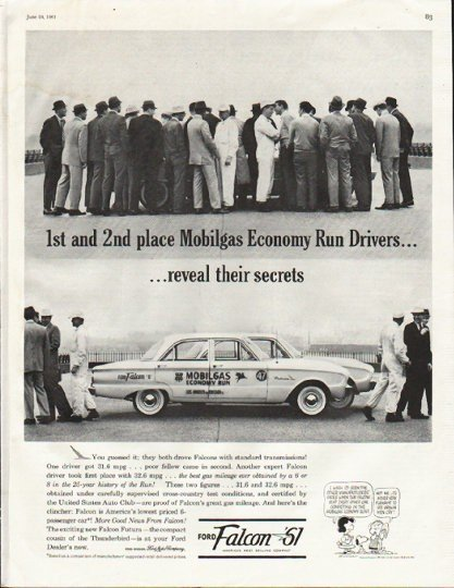 "1961 Ford Falcon Ad ""1st and 2nd place"" ~ (model year 1961)"