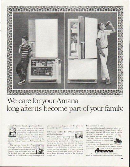 """1964 Amana Refrigerator Ad """"We care"""""""