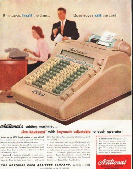 "1956 National Cash Register Ad ""half the time"""