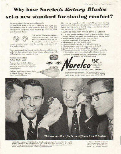 """1956 Norelco Shaver Ad """"Rotary Blades"""""""