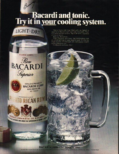 "1980 Bacardi Rum Ad ""cooling system"""