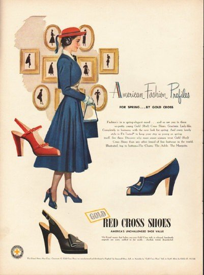 """1948 Red Cross Shoes Ad """"American Fashion Profiles"""""""
