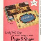 "1956 Page & Shaw Ad ""Emily Post Says"""