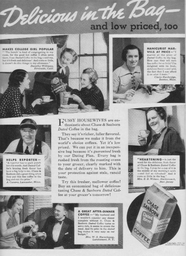 "1937 Chase & Sanborn Coffee Ad ""Delicious"""
