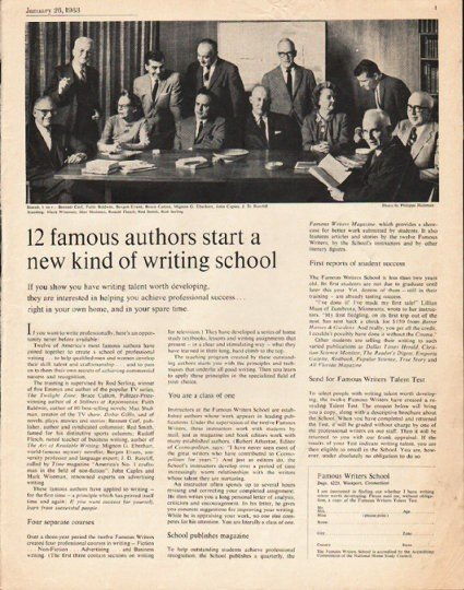 """1963 Famous Writers School Ad """"12 famous authors"""""""