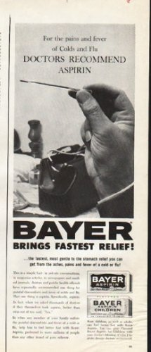 """1961 Bayer Aspirin Ad """"the pains and fever"""""""