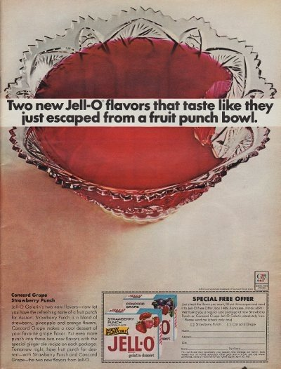"""1967 Jell-O Ad """"Two New Flavors"""""""