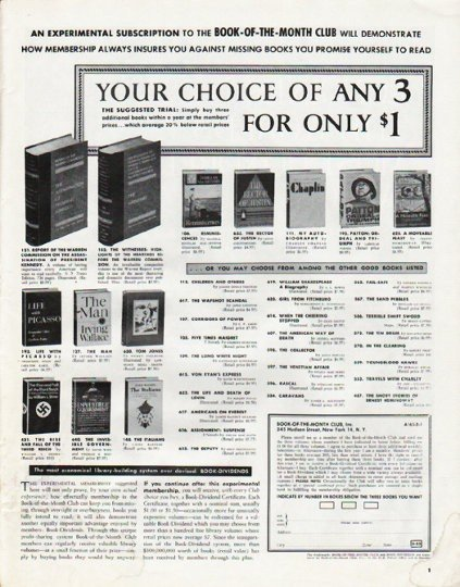 """1965 Book-Of-The-Month Club Ad """"Your choice of any 3"""""""