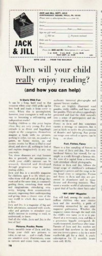 """1965 Jack and Jill Magazine Ad """"your child"""""""