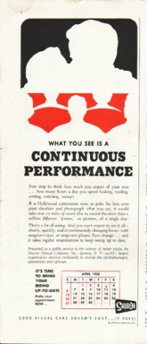 """1958 Shuron Optical Ad """"Continuous Performance"""""""