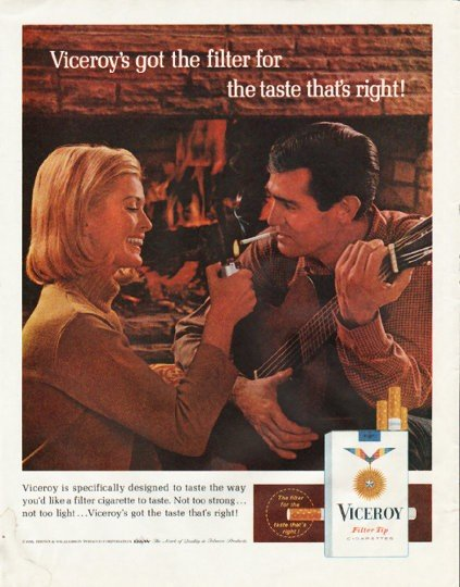 """1965 Viceroy Cigarettes Ad """"got the filter"""""""