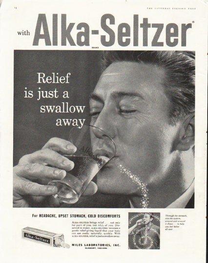 "1958 Alka-Seltzer Ad ""swallow away"""
